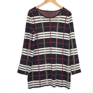 Melissa Paige Plaid Tunic Sweater Dress Sz Large